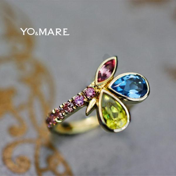 4種類のカラー宝石を使ったゴールドの指輪をオーダーメイドした作品