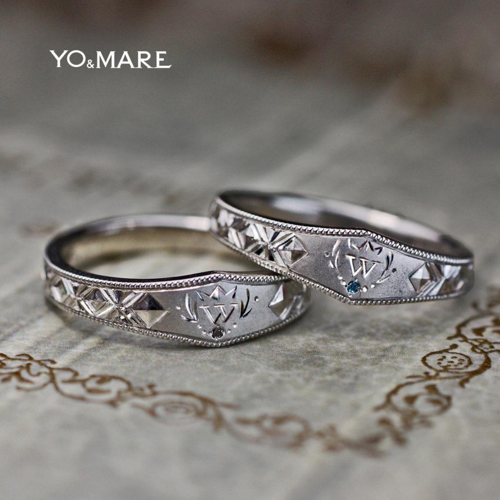 イニシャルWとデザイン模様を結婚指輪に入れたオーダーメイド作品
