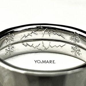 2本重ねて山の模様を【結婚指輪内側に刻印】したオーダーメイド作品