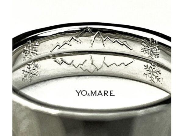 結婚指輪の内側に槍ヶ岳山の模様を