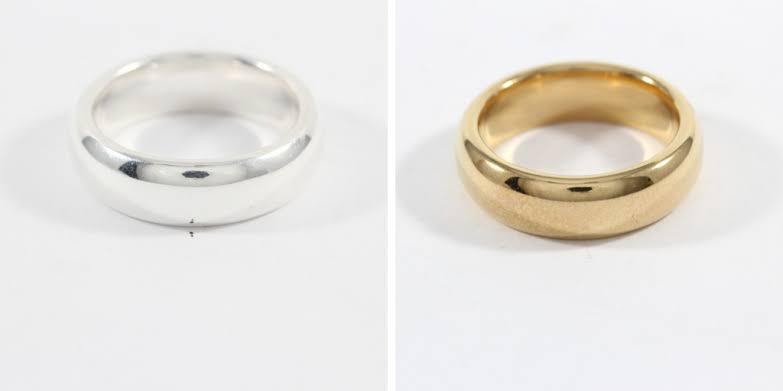 アレルギー皮膚炎を避けるべき金メッキされた指輪
