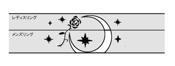 月と薔薇の柄を結婚指輪にオーダーメイドで