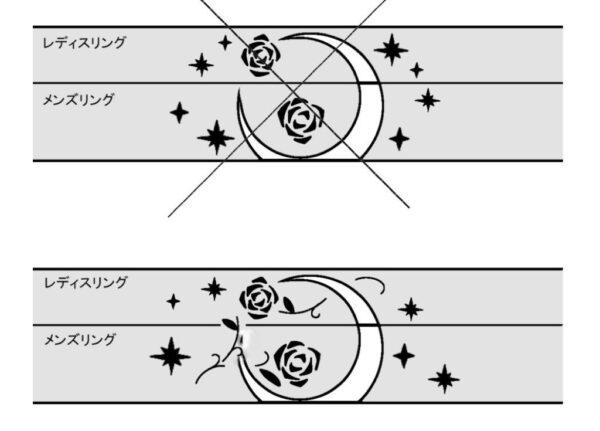 月とバラの模様が入る結婚指輪のデザイン画 2