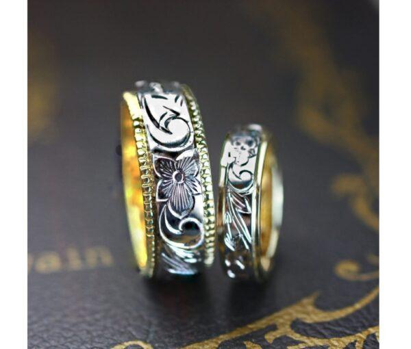 ハワイアン柄を一周に入れた幅8mmの結婚指輪オーダー作品