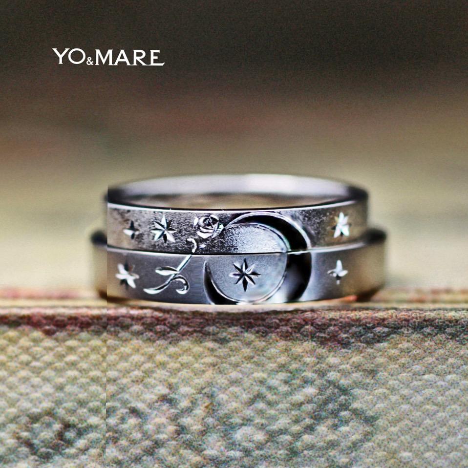 【月とバラの模様】を結婚指輪にデザインしたオーダーメイド作品