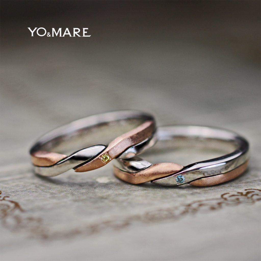 ピンクゴールドとプラチナをツイストさせた2色コンビの結婚指輪作品