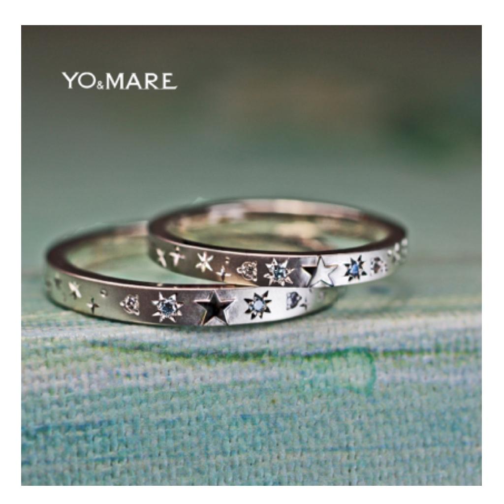 星とブルーダイヤを結婚指輪一周にデザイしたオーダーメイド作品 >>