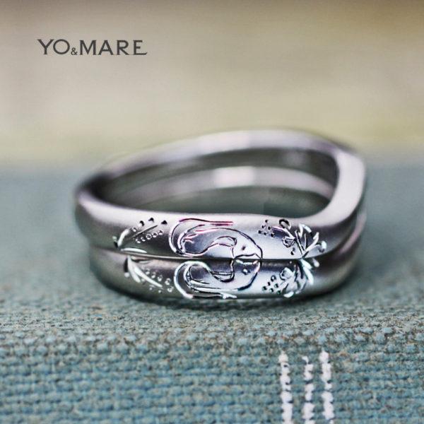 【幸運を呼ぶ】キツネと稲穂の模様をつくった結婚指輪オーダー作品