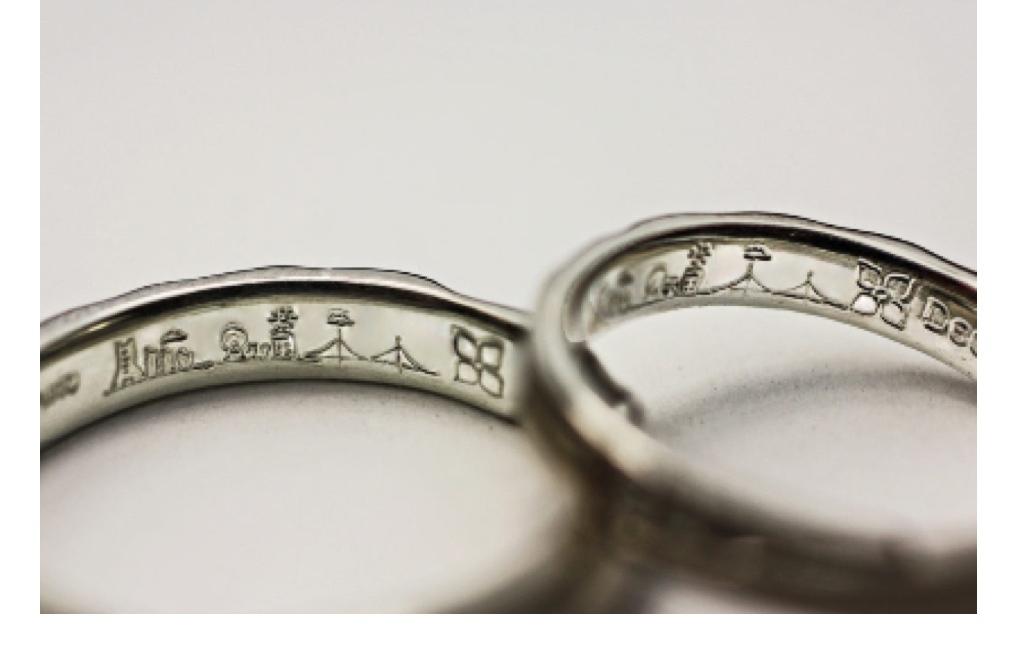 内側に横浜の風景を入れた結婚指輪をオーダーする