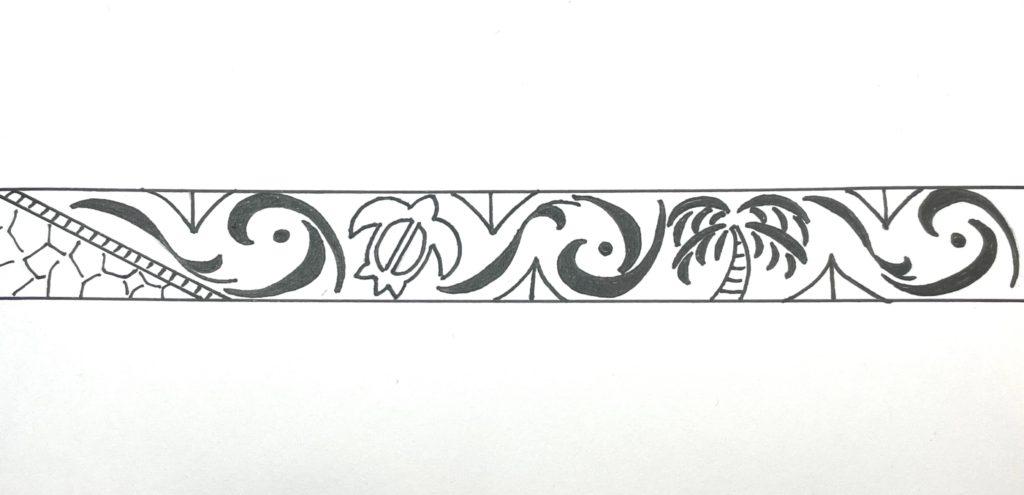 手彫り柄になる 海がめ」と「 ヤシの木 」と「 波 」のデザイン画