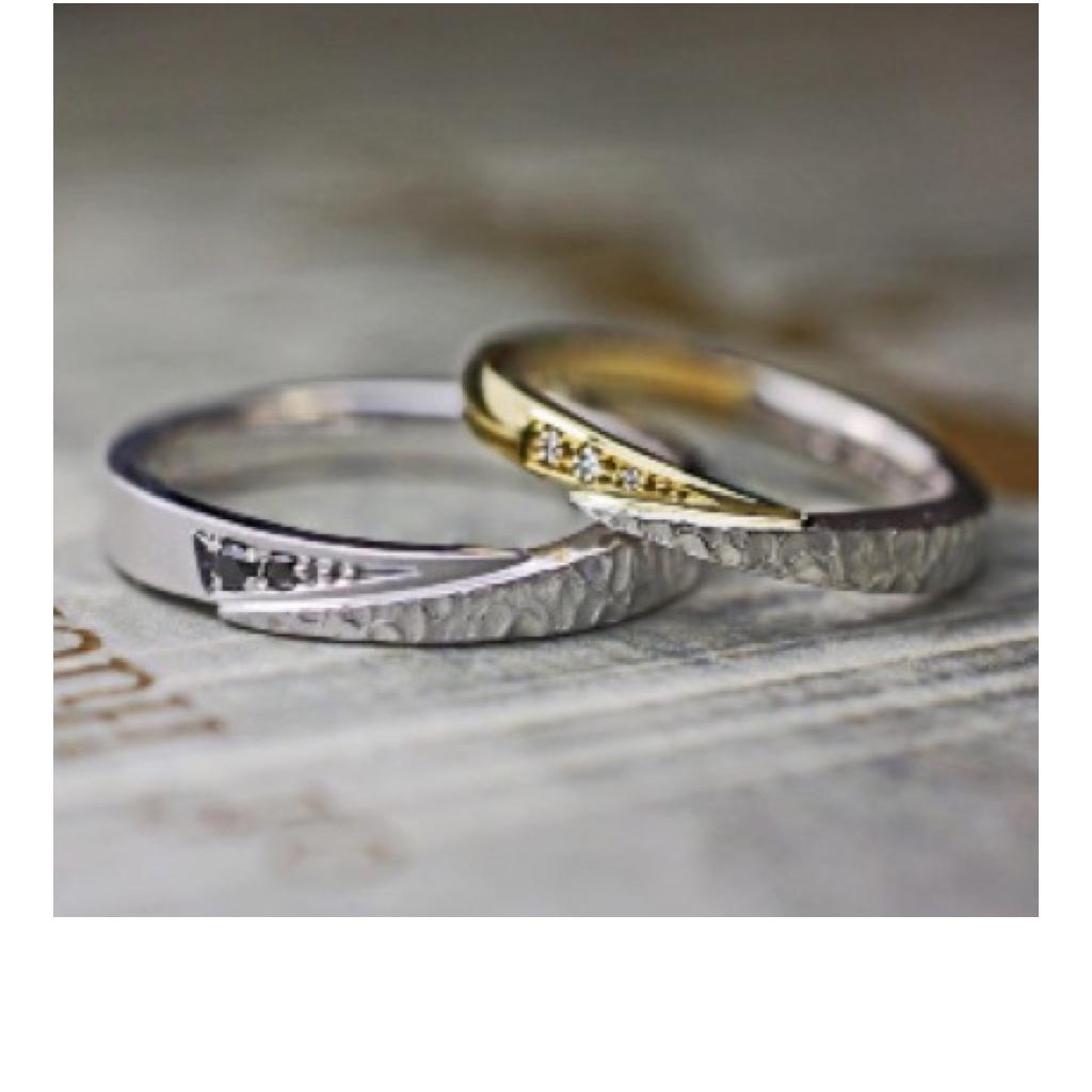 スネークデザインの結婚指輪を個性的にアレンジしたオーダーリング >>