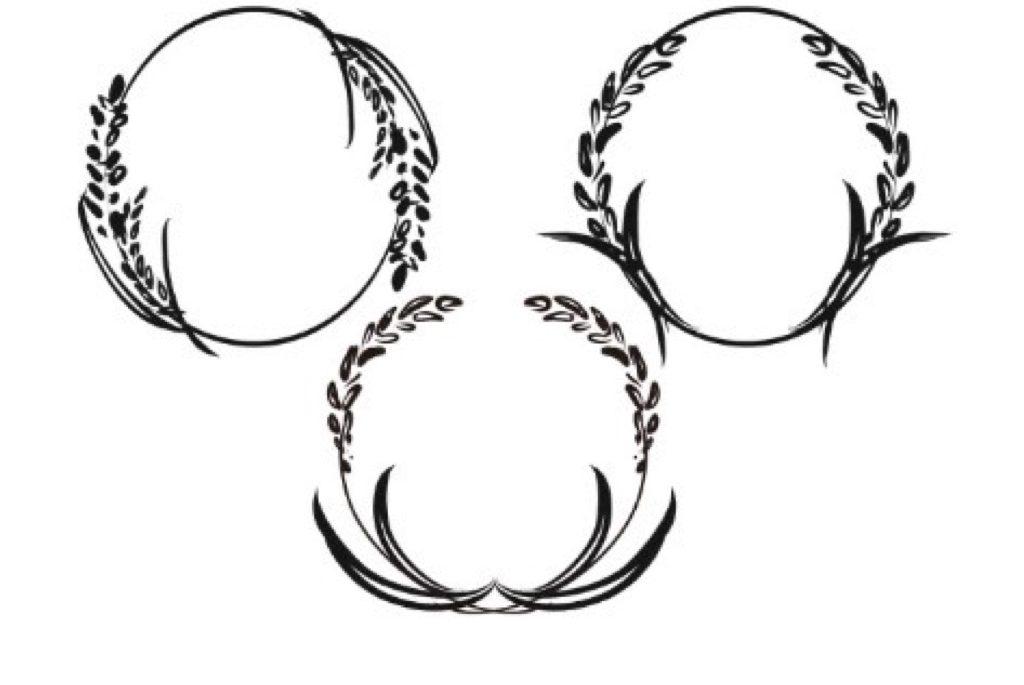結婚指輪に入れる稲穂の模様のデザイン画