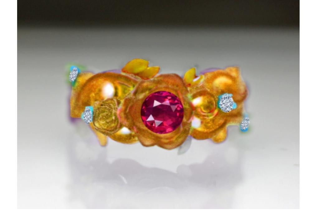 バラの婚約指輪の原型模型