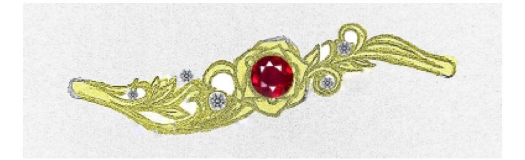 バラの婚約指輪のラフ画 2