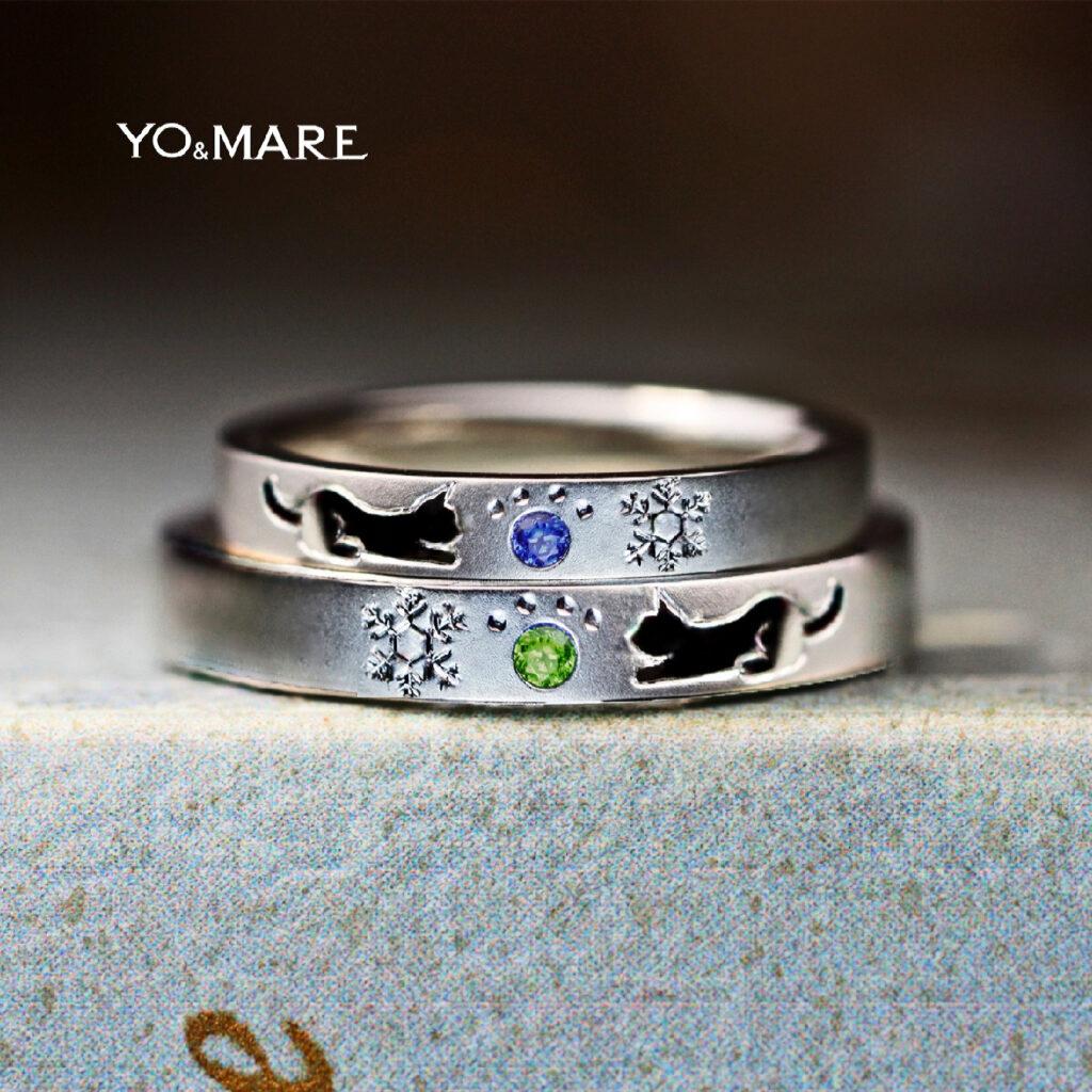 【ネコと結晶の模様】を誕生石の肉球で飾った結婚指輪オーダー作品