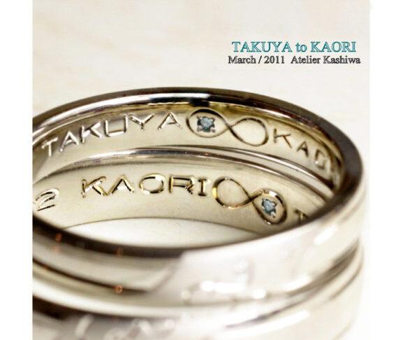 結婚指輪の内側にブルーダイヤと永遠のマークを入れたオーダー作品