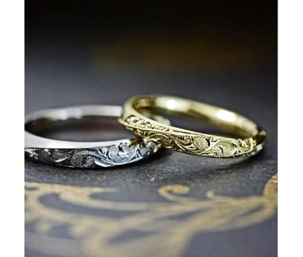 ハワイアン柄をデザインしたゴールド結婚指輪オーダーメイド作品