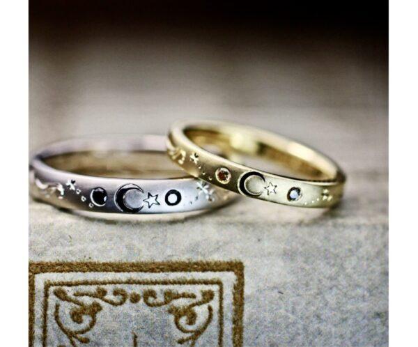 三日月模様とダイヤを入れたゴールドの結婚指輪オーダー作品