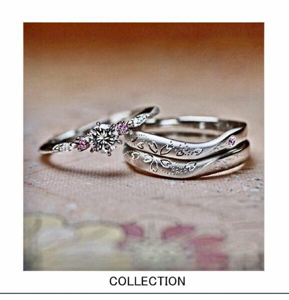 【満開!さくらの模様】をデザインした結婚指輪オーダー作品一覧