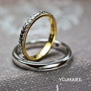 【ハワイアン模様】のトロピカルリーフを入れた結婚指輪オーダー作品