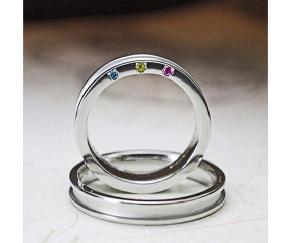 ブルーダイヤなど3つのカラーダイヤを入れた結婚指輪 オーダー作品