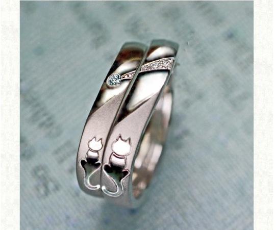 流れ星を見つめるねこのカップルの結婚指輪 オーダーメイド作品
