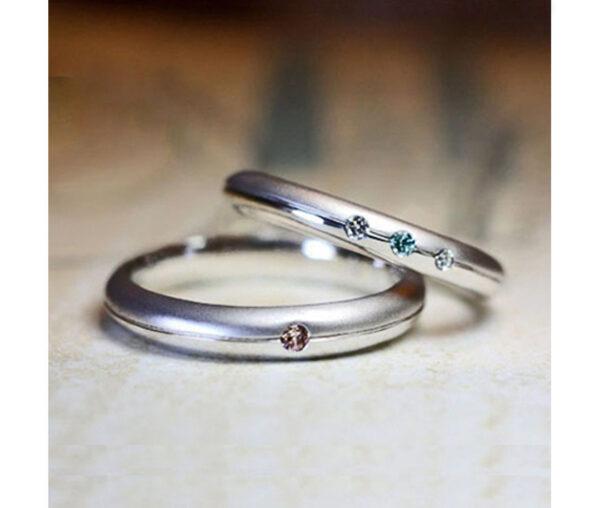 ブルーダイヤと丸いフォルムの結婚指輪 オーダーメイド作品