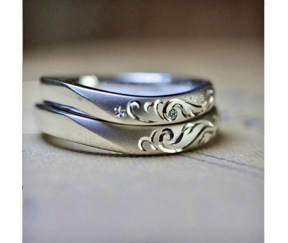 天使の羽模様がトライバル風に入った結婚指輪 オーダー作品