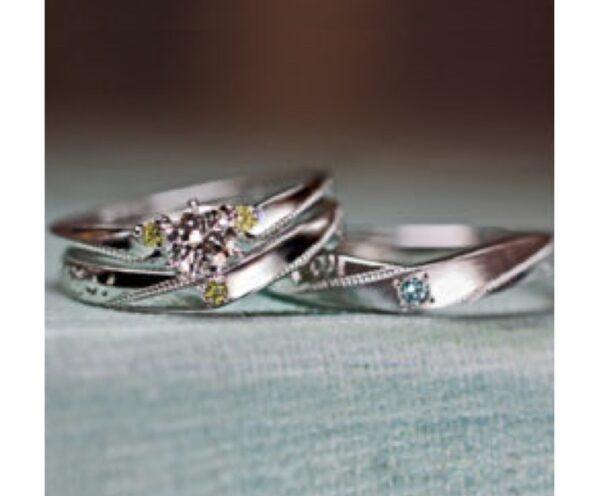 ブルーとイエローダイヤの結婚指輪・婚約指輪 オーダーメイド作品