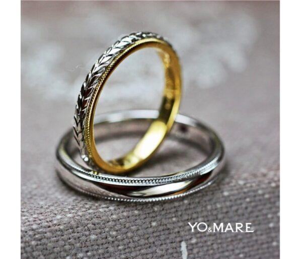 細いコンビの結婚指輪ハワイアンが完成