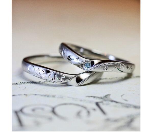 さくらの花びらとブルーダイヤの結婚指輪 オーダーメイド作品