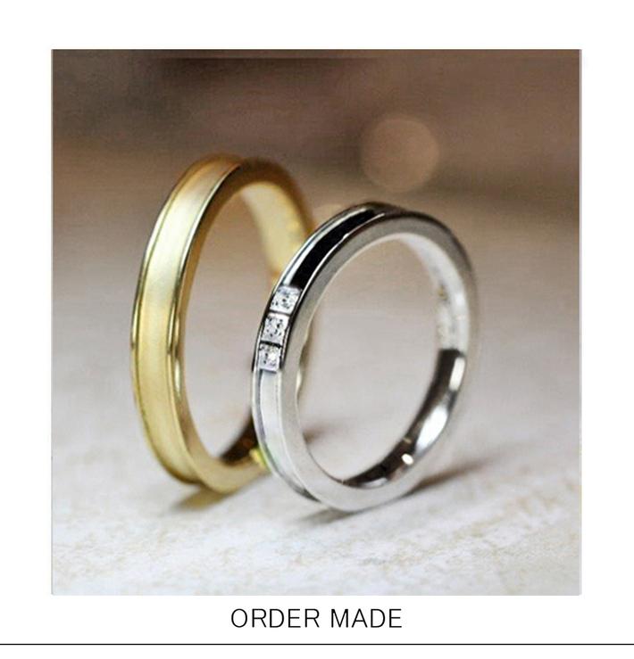 プラチナ950と18金ゴールドで作られたペアデザインの結婚指輪・千葉 柏のカップルのオーダーメイドのサムネイル