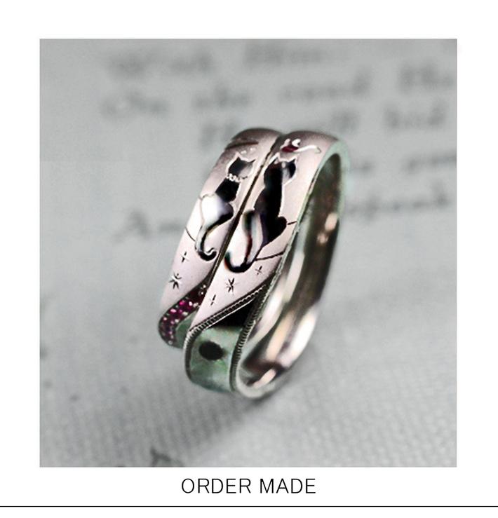 ハートカップル・ネコがシッポでハートをつくる結婚指輪 オーダーメイドのサムネイル