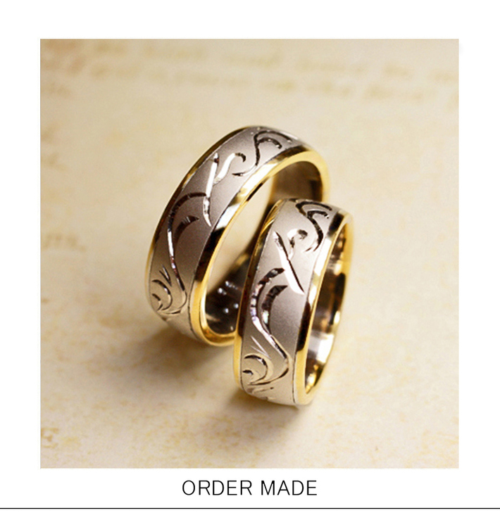 イニシャルハワイアン・ふたりのイニシャルとハワイアン風模様の オーダーメイド・結婚指輪のサムネイル