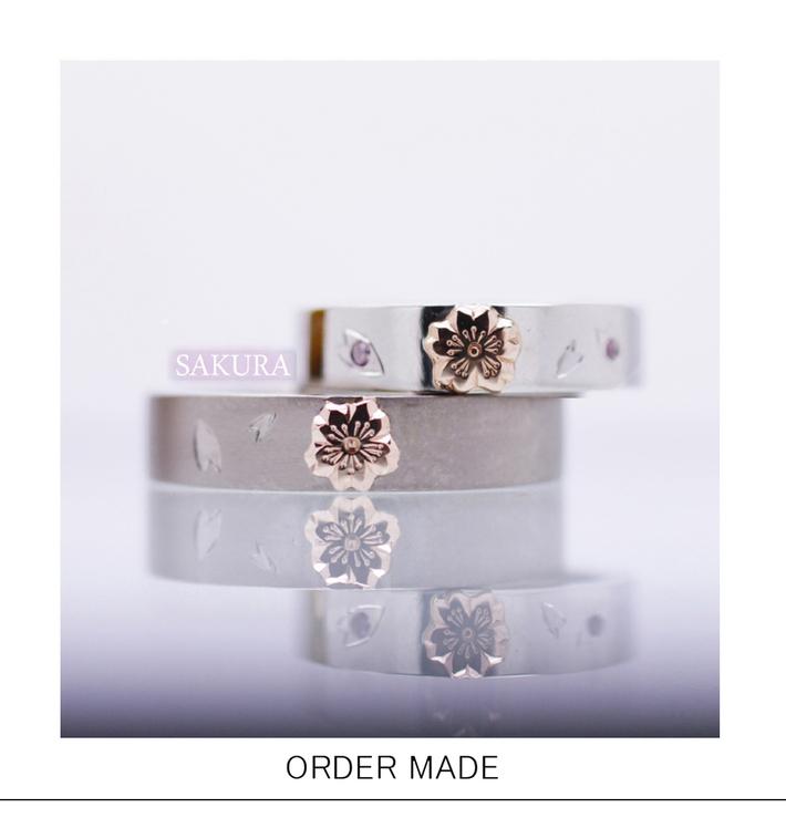 サクラ・さくらの花が並んで咲いている結婚指輪・千葉 柏のカップルのサムネイル