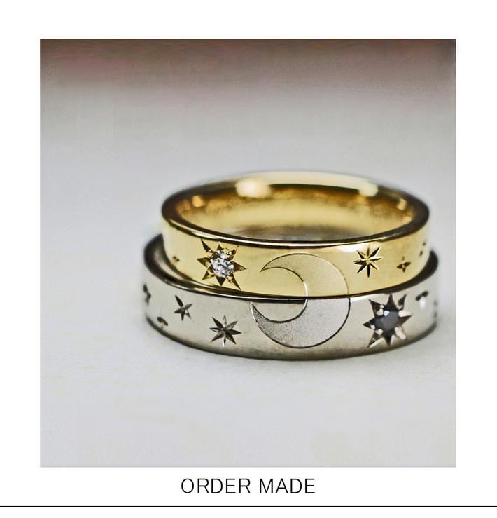 2本重ねて月の模様をつくる、ゴールドの結婚指輪のサムネイル