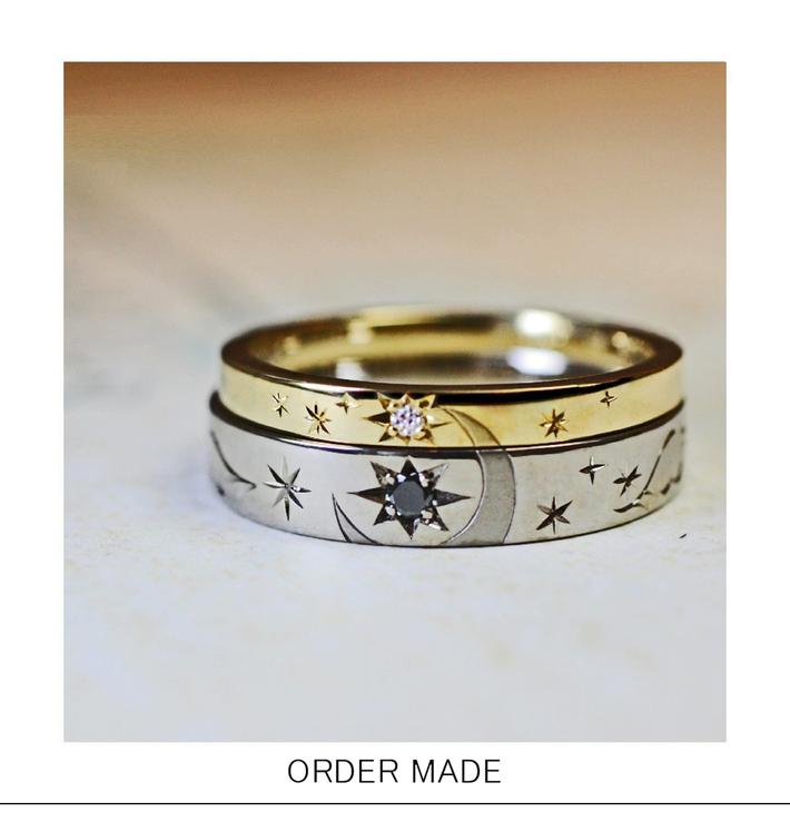 2本重ねて月と星をつくるゴールドの結婚指輪オーダーリングのサムネイル