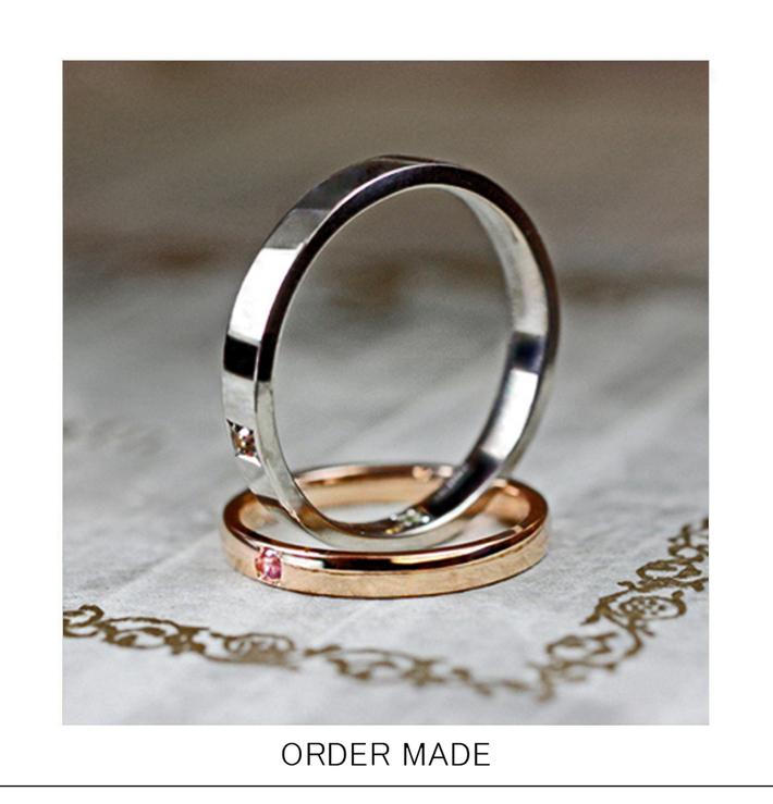 ピンクゴールド&ホワイトゴールドのシンプルな結婚指輪のサムネイル