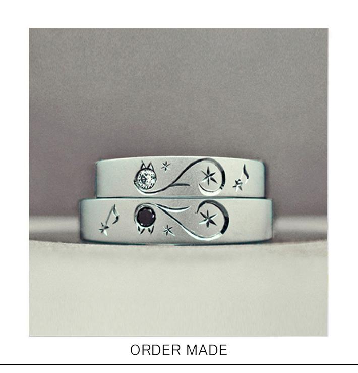 ブラックキャット&ホワイトキャット・ ネコがハートをつくる結婚指輪のサムネイル