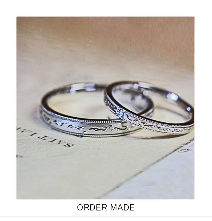リボン&エンジェル・天使の羽模様が一周入ったオーダーメイド・結婚指輪のサムネイル