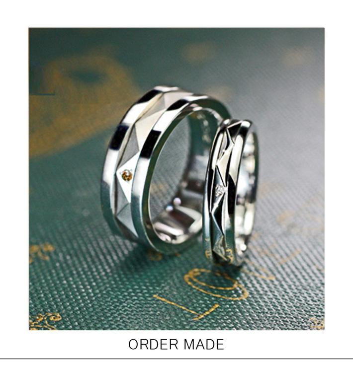 キルト・回すとキラキラ光るキルティングデザインの結婚指輪オーダーメイドのサムネイル