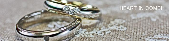 ハートモチーフのダイヤがデザインされた オーダーメイドの結婚指輪