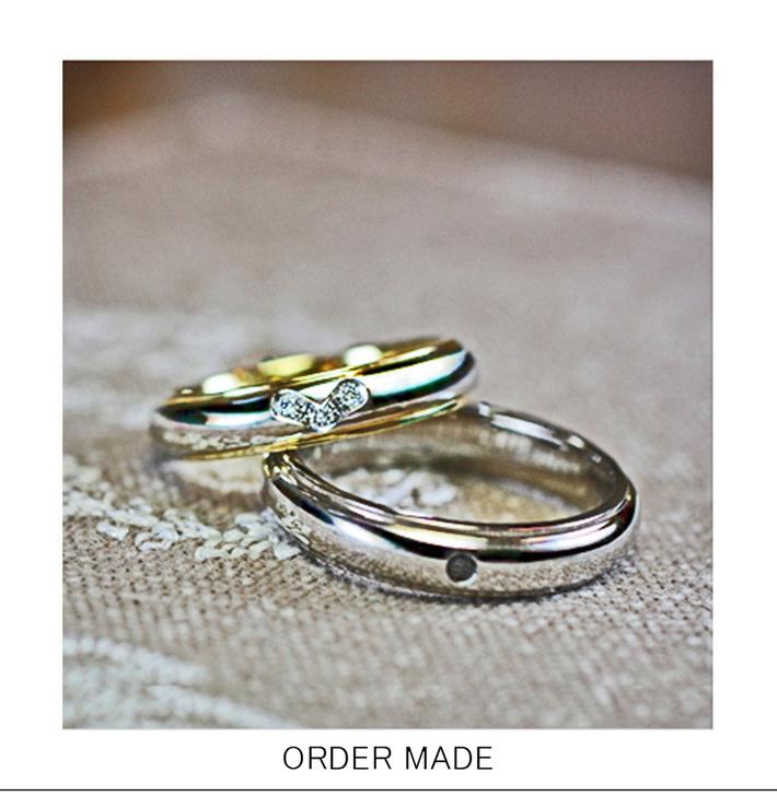 ハートモチーフのダイヤがデザインされた オーダーメイドの結婚指輪のサムネイル