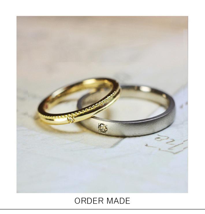 艶消しマットなグレーゴールドとゴールドのオーダーメイド結婚指輪のサムネイル
