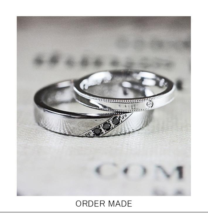 ブラックダイヤとグレーゴールドのメンズ オーダーメイド・結婚指輪のサムネイル