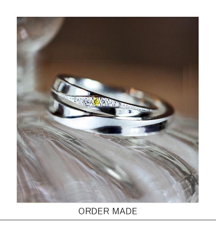 レモンイエローのダイヤがアクセントの オーダーメイド・結婚指輪のサムネイル