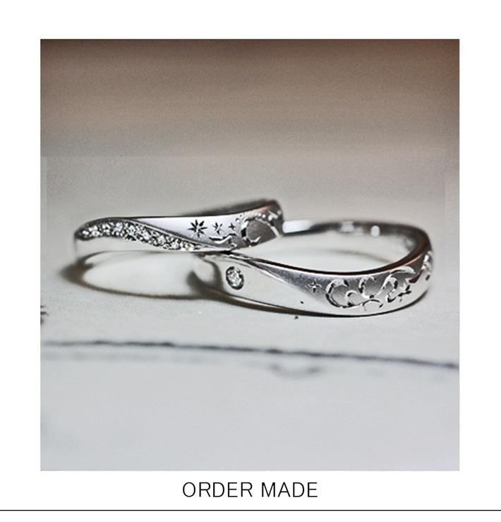 ダイヤモンドがウェーブした海モチーフの オーダーメイド・結婚指輪のサムネイル