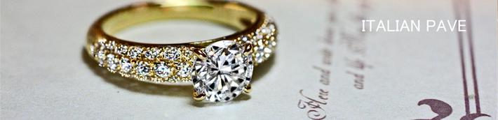 ゴールドの豪華なダイヤモンドスタイルの婚約指輪オーダーメイド