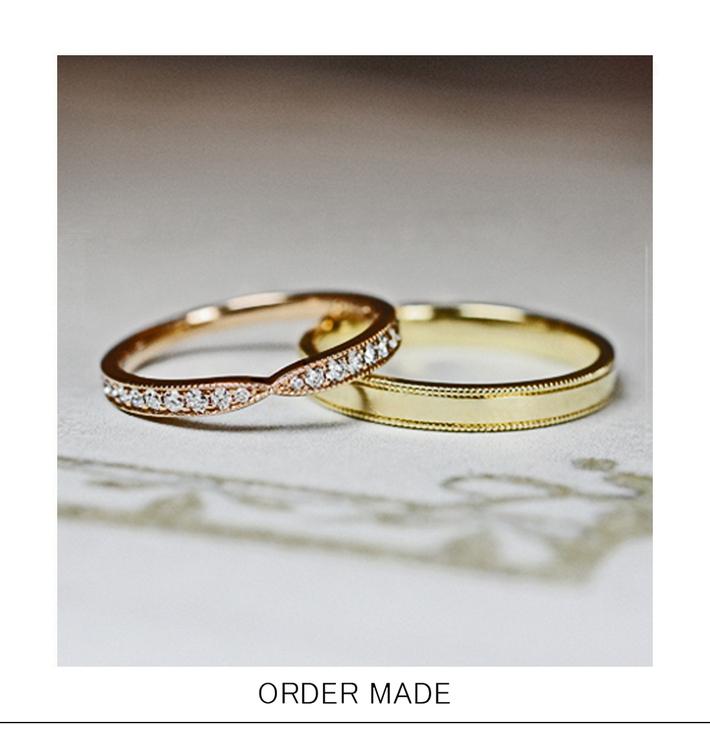 結んだピンクゴールドのダイヤエタニティ・オーダーメイドの結婚指輪のサムネイル