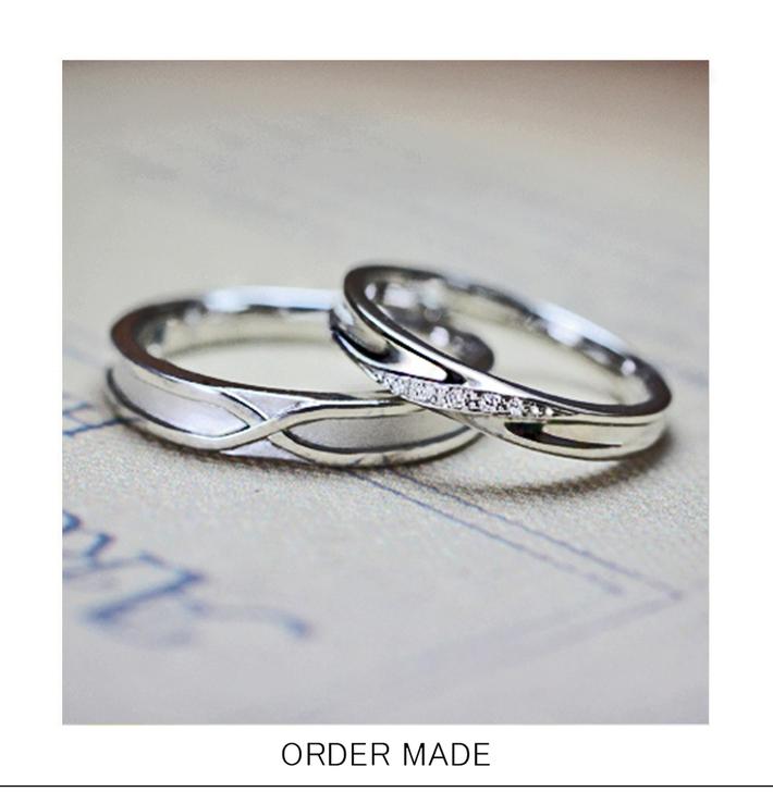 幸運のモチーフ・8の字をデザインした オーダーメイド・結婚指輪のサムネイル
